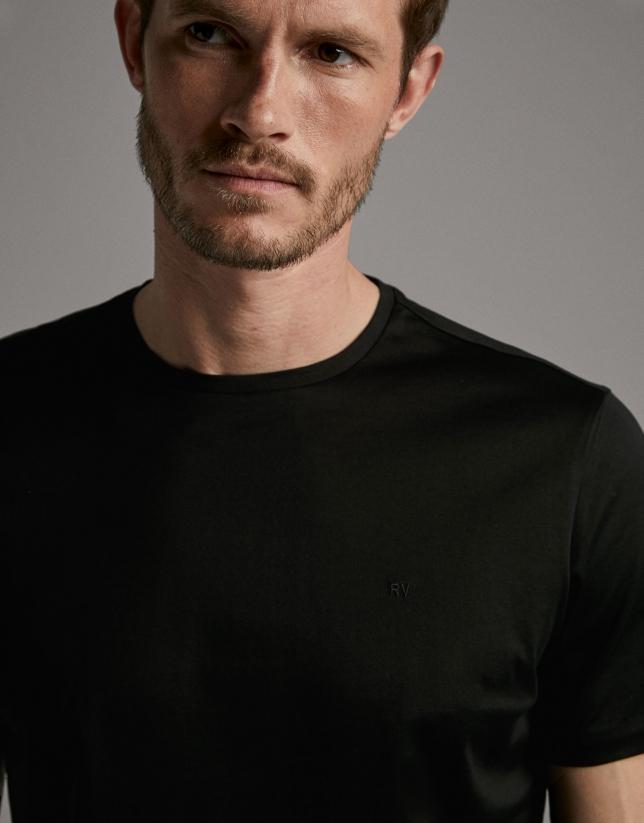 T-shirt noir à manches courtes
