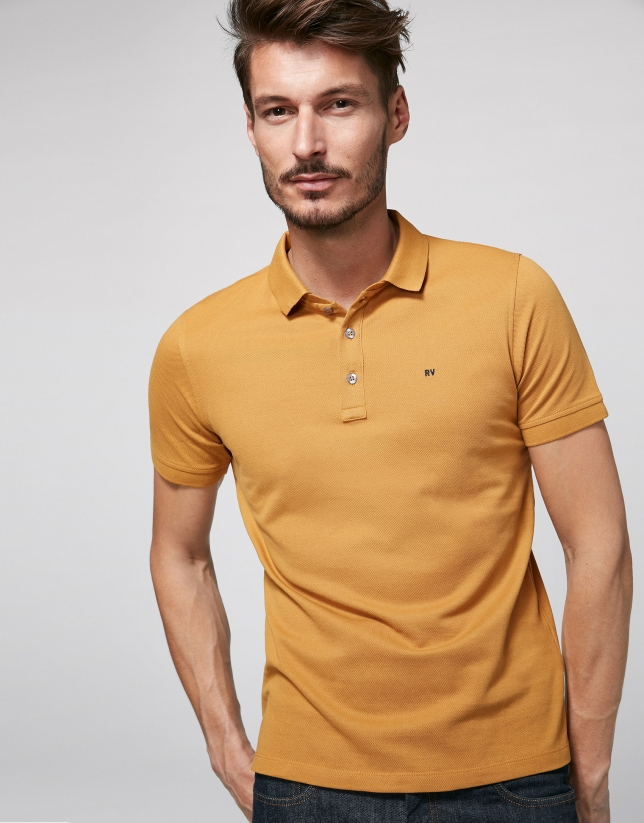 Gold cotton polo shirt