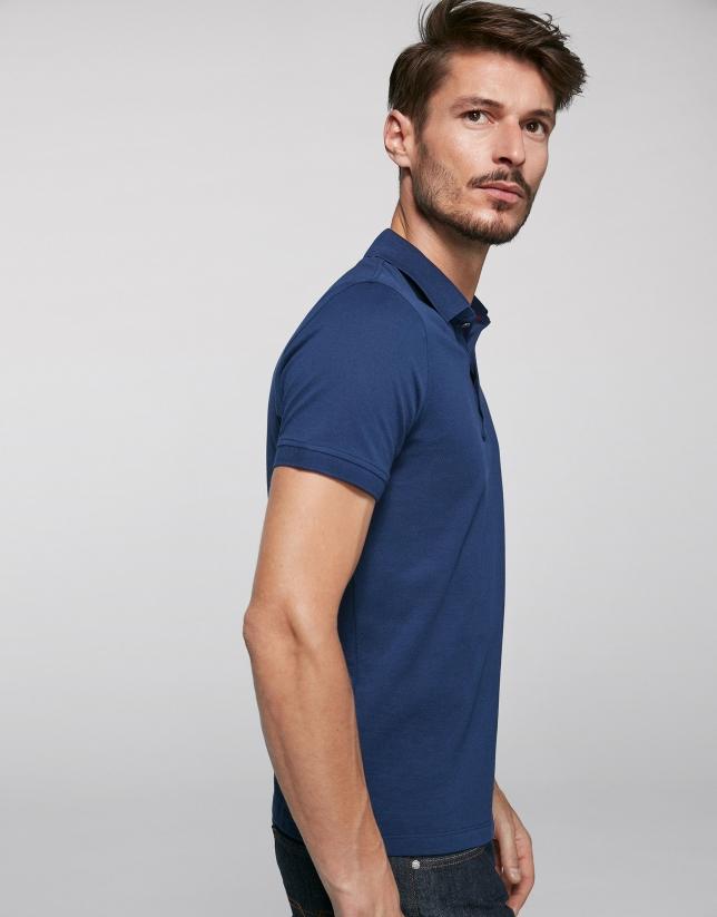 Polo en coton bleu