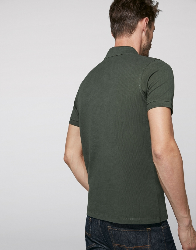 Khaki cotton polo shirt