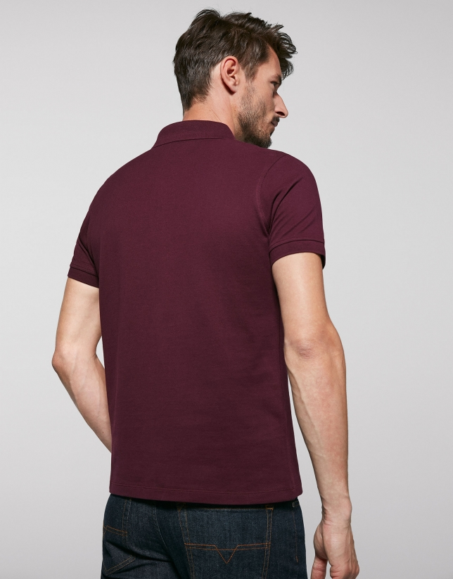 Burgundy cotton polo shirt