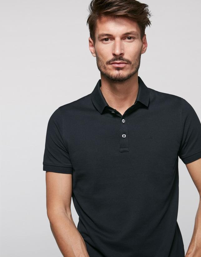 Polo en coton noir