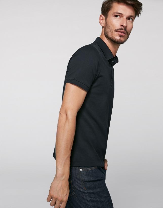 Black cotton polo shirt