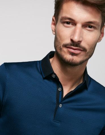 Indigo and black jacquard polo shirt