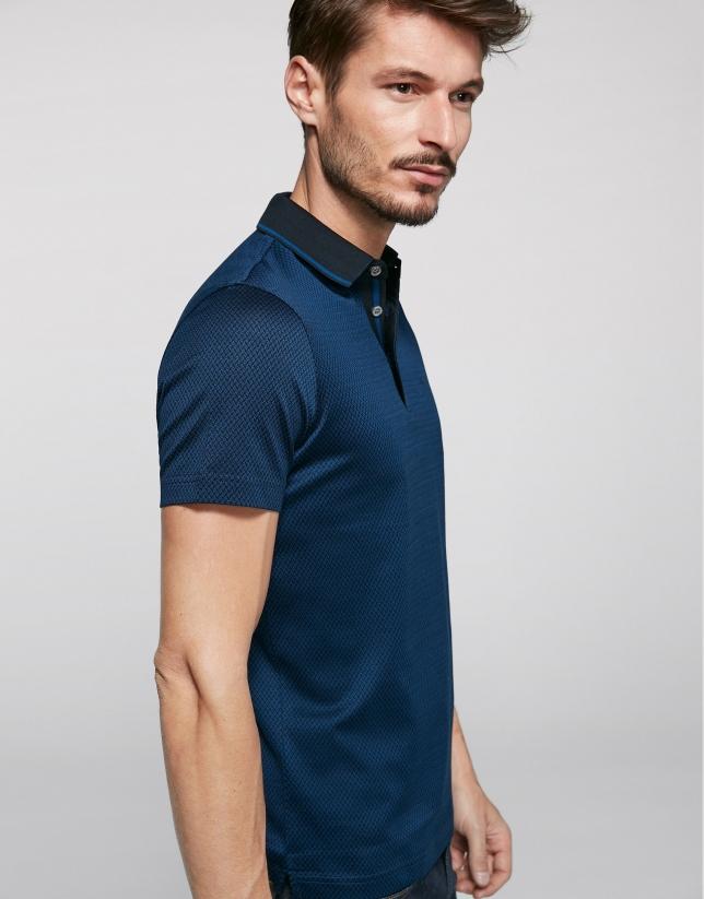 Polo à jacquard bleu encre et noir