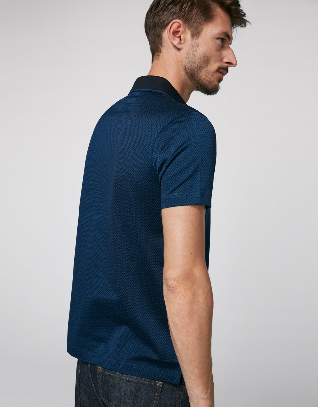 Indigo and black jacquard polo shirt