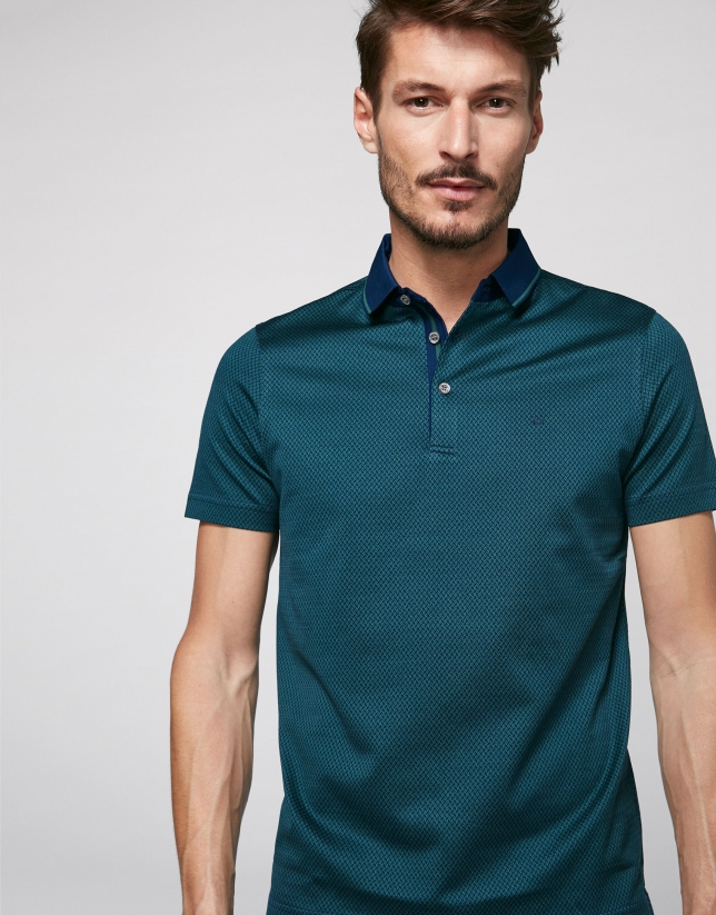 Indigo and green jacquard polo shirt
