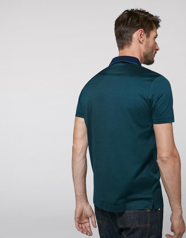 Indigo and green jacquard polo shirt