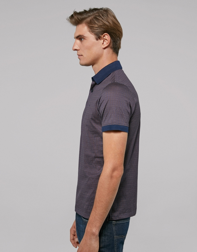 Brown and blue geometric print polo shirt