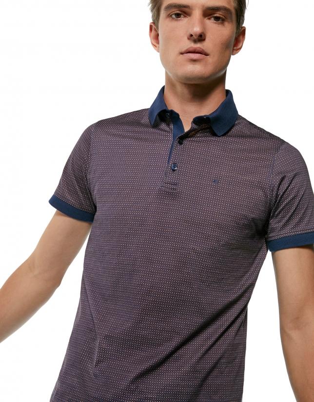 Polo imprimé géométrique bleu et marron