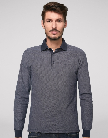 Navy blue and white polo shirt