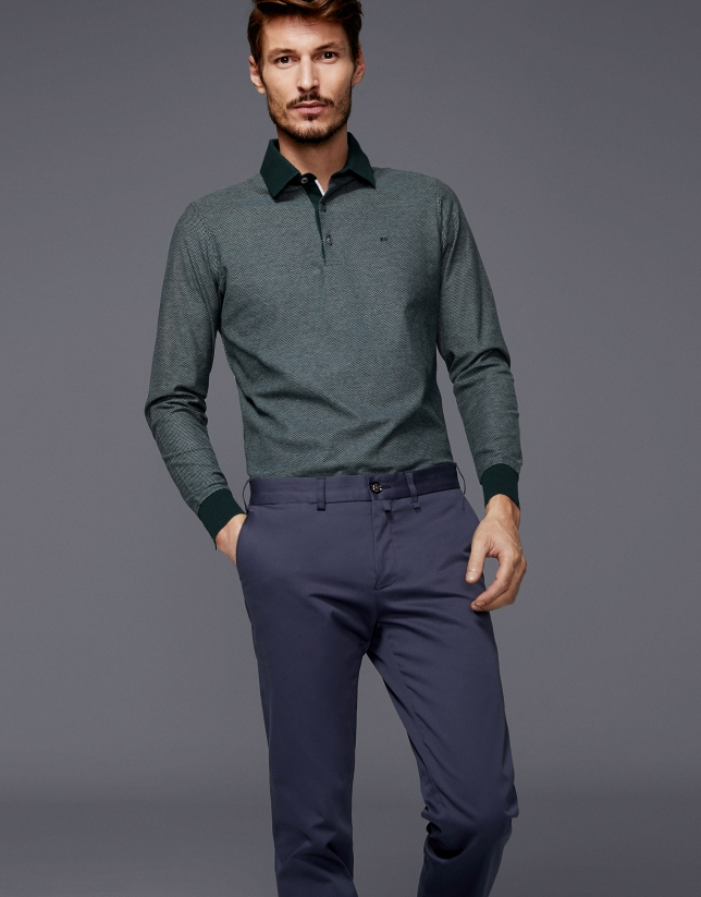 Polo bicolore vert / blanc