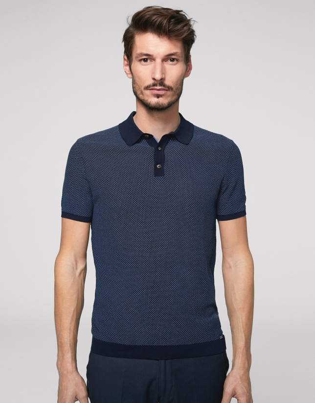 Navy blue and deep blue high twist cotton polo shirt