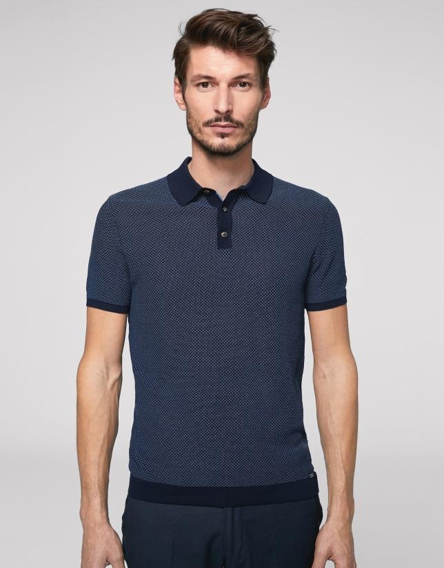 """Polo en coton """"high twist"""" bleu marine/bleu roi"""
