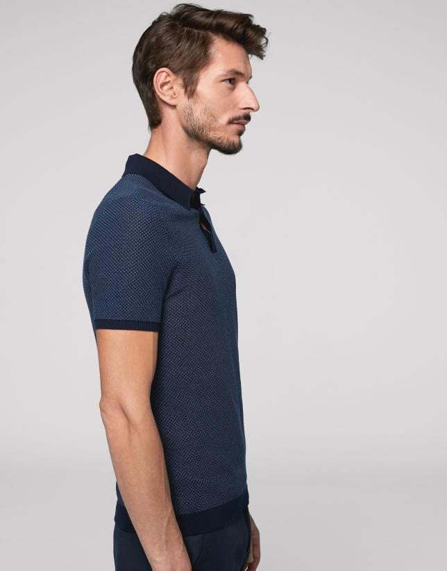 Navy blue and deep blue high twist cotton polo shirt