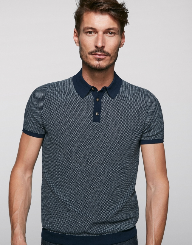Navy blue and beige high twist cotton polo shirt