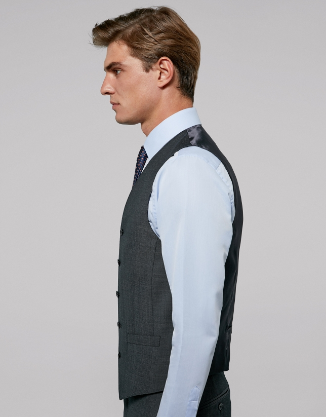 Grey wool fake plain dress vest