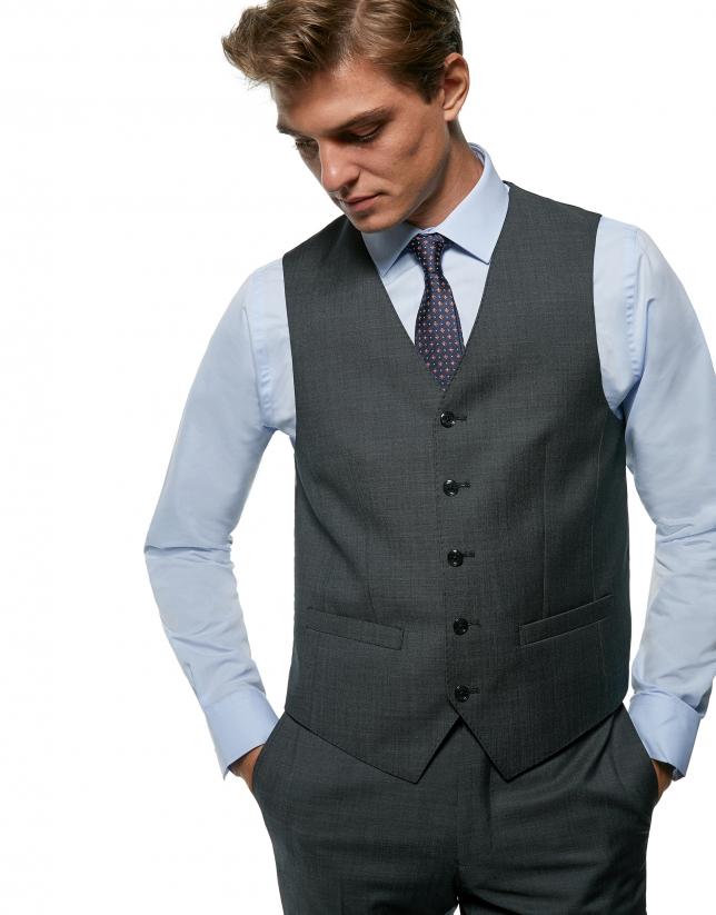 Gilet de costume en laine faux uni gris