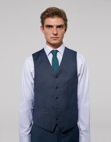 Blue wool fake plain dress vest