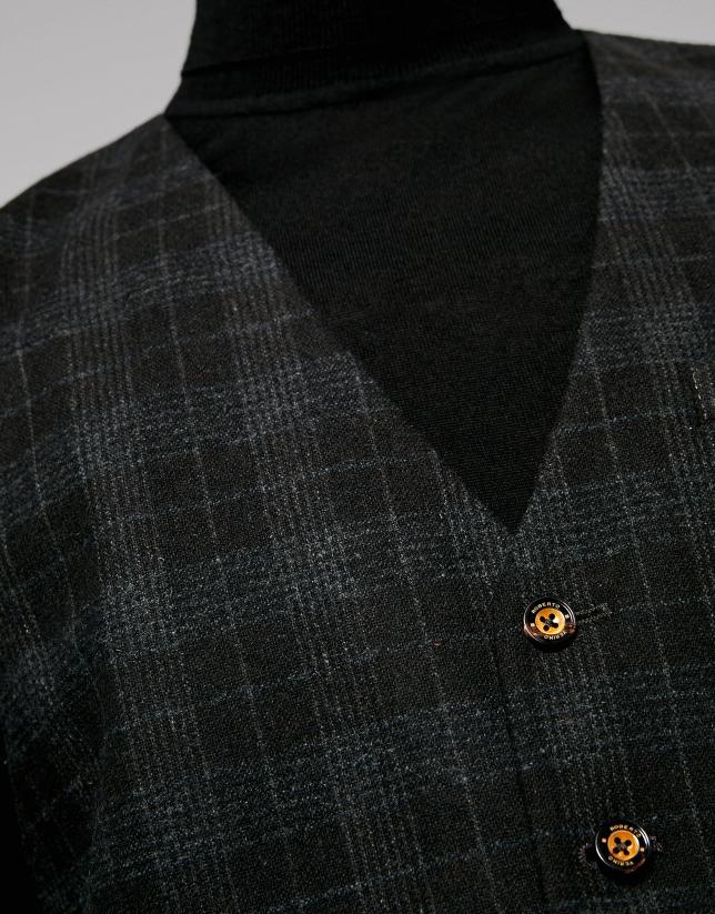 Gilet de cérémonie à carreaux couleur taupe