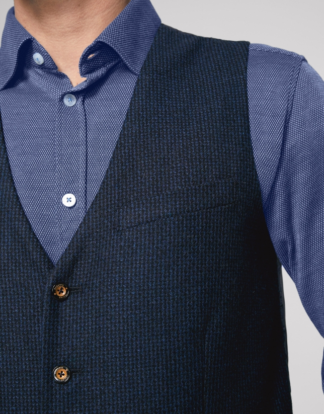 Blue checked tailored vest