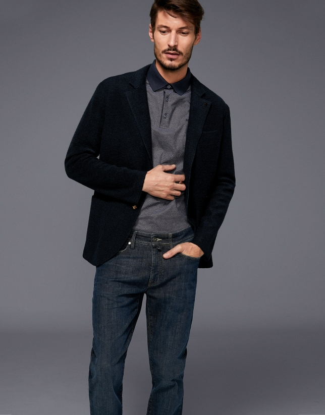Dark blue wool sport jacket