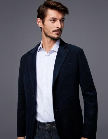 Americana en lana cocida azul oscuro