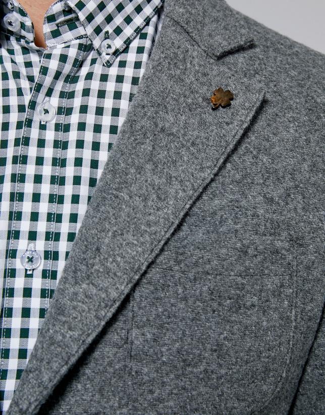 Americana en lana cocida gris melange