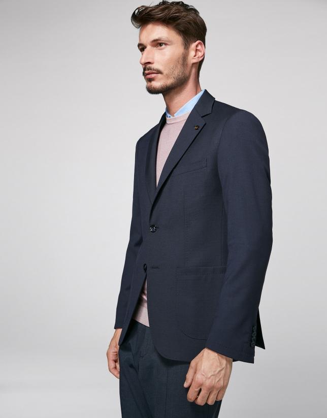 Navy blue sport jacket with patch pocket