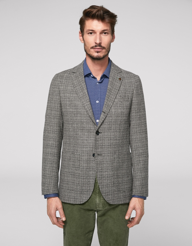 Gray sport jacket with patch pocket