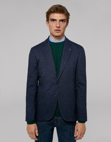 Blue checked sport jacket