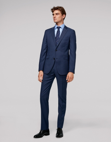 Fake plain deep blue slim fit suit