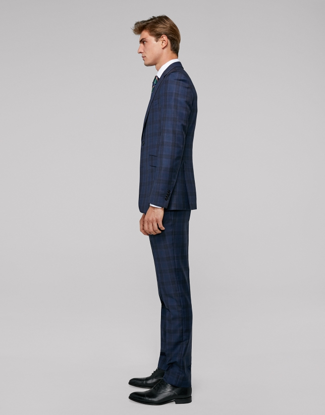 Navy blue checked, slim fit suit