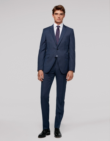Blue regular half canvas suit