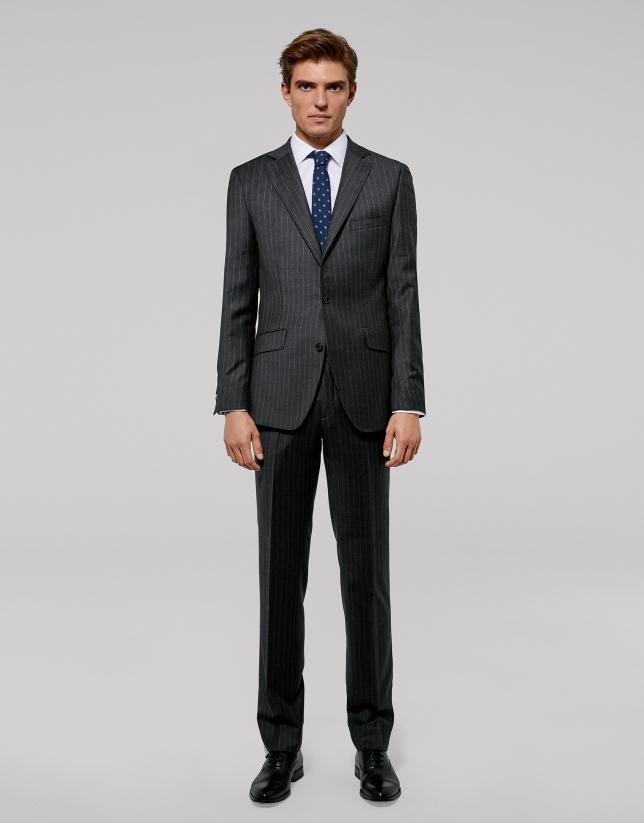 Costume semi-entoilé coupe droite à rayures diplomatiques