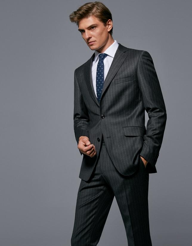 Gray pinstriped half canvas  suit