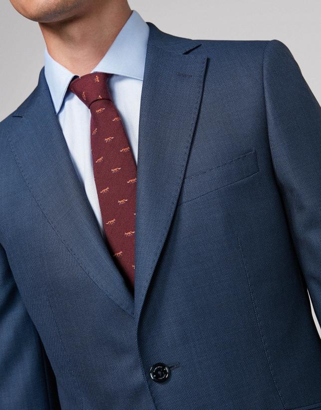 Costume coupe droite œil de perdrix bleu roi