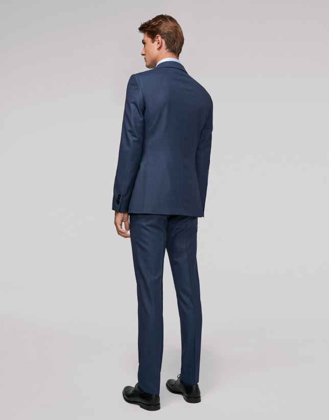 Deep blue bird's eye weave regular fit suit