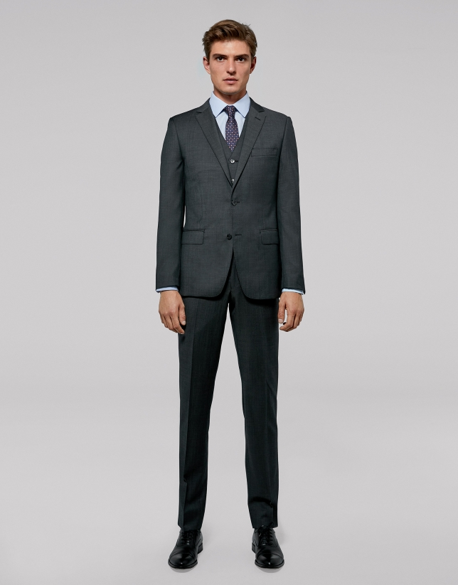 Fake plain grey slim fit suit