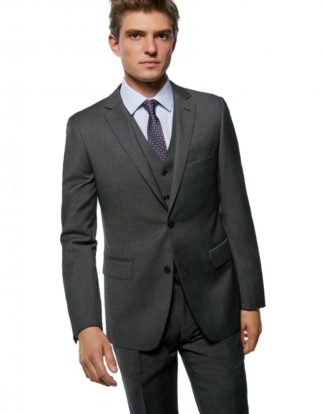 Costume coupe ajustée en laine faux uni gris