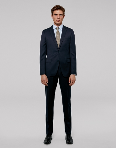 Navy blue twill, slim fit suit