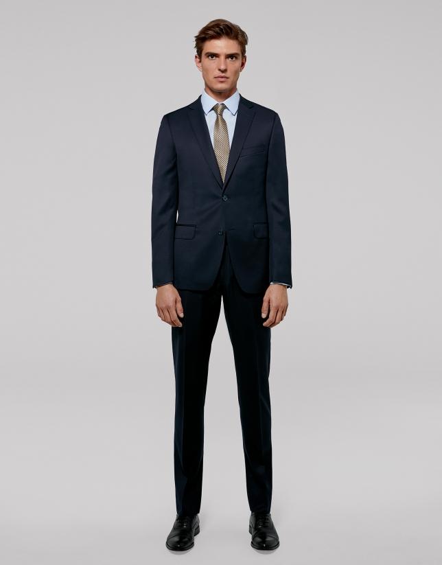 Navy blue twill, slim fit suit