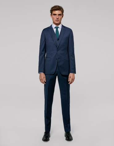 Fake plain blue slim fit suit