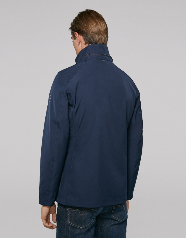 Navy blue light tech fabric jogging jacket