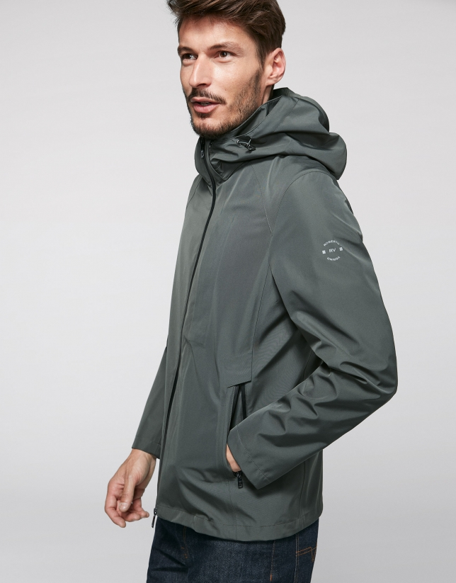 Khaki light tech fabric jogging jacket