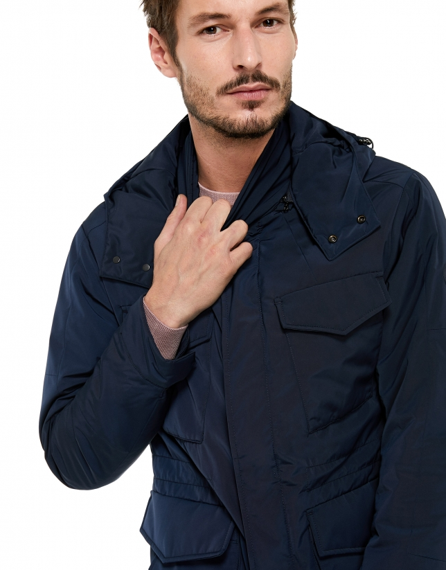 Navy blue tech fabric parka