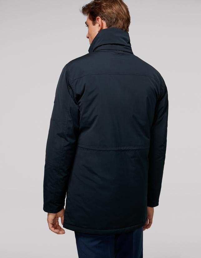 Long navy blue tech fabric parka