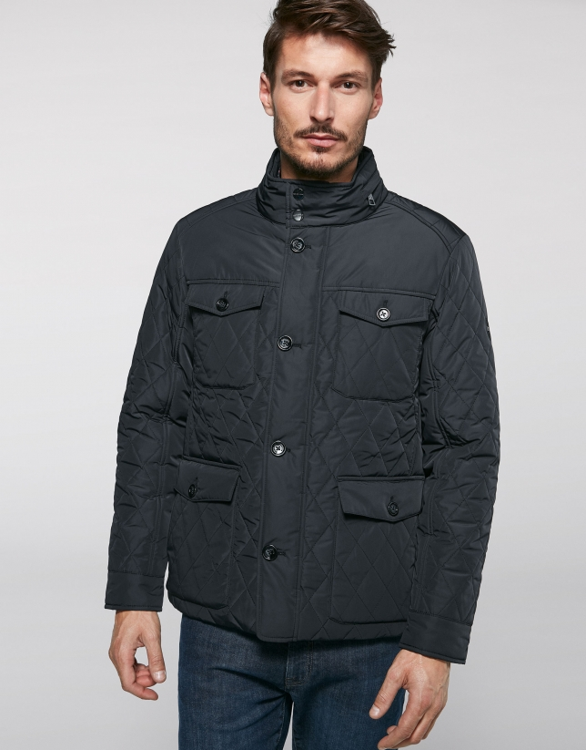 Black quilted anorak