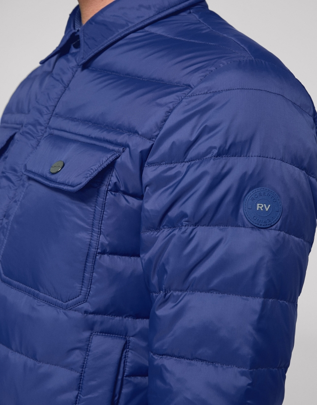 Deep blue, quilted short windbreaker