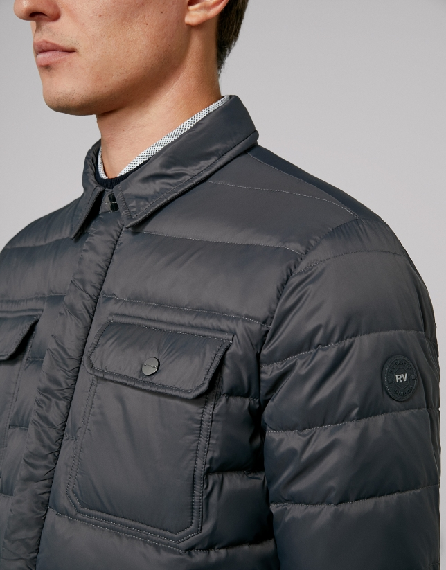 Dark gray, quilted short windbreaker